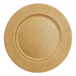 Assiette de présentation ronde Or avec strass D 33 cm La maison des couleurs