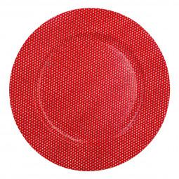 Assiette de présentation ronde Rouge avec strass D 33 cm La maison des couleurs