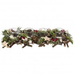 Centre de Table Bûche bois décoré Noël 4 Photophores en verre collection Lodge