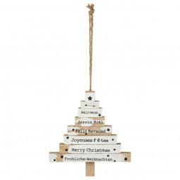 Décoration Suspension de Noël Forme Sapin sur 8 niveaux avec textes H 15 cm Un Noël kinfolk
