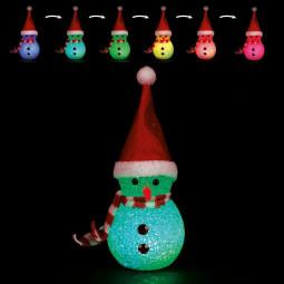 Sujet de Noël lumineux Bonhomme de neige LED à variation de couleur H 12 cm
