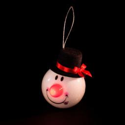 Sujet de Noël lumineux Tête de Bonhomme de neige avec Nez rouge LED clignotante