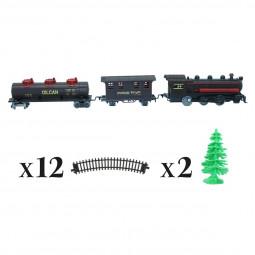Accessoires pour Village de Noël Coffret 17 pièces Train avec locomotive, wagons , rails et sapins