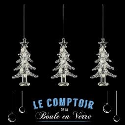 Décoration de sapin Lot de 3 Sujets de Noël en verre sapine avec perles H 10 cm Comptoir de Noël