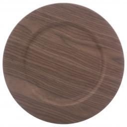 Assiette de présentation ronde effet Bois foncé D 33 cm La maison des couleurs
