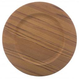 Assiette de présentation ronde effet Bois médium D 33 cm La maison des couleurs