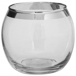 Photophore en verre avec bande Argent D 8 cm Comptoir de Noël