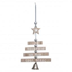 Décoration Suspension Sapin de Noël en bois articulé avec cloche H 30 cm Un Noël kinfolk