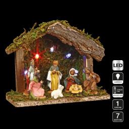 Décoration Crèche de Noël lumineuse 5 LED avec 7 santons H 13.5 cm