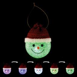 Sujet de Noël lumineux Tête de bonhomme de neige à suspendre LED à variation de couleur H 8.5 cm