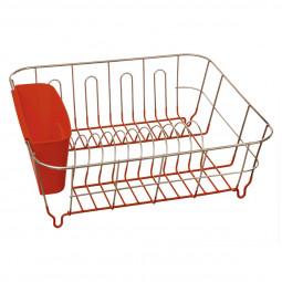 Égouttoir en métal et PVC rouge