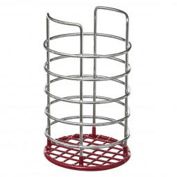 Pot range couvert métal/PVC rouge