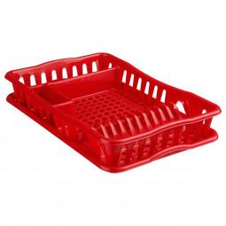 Egouttoir + plateau en plastique rouge