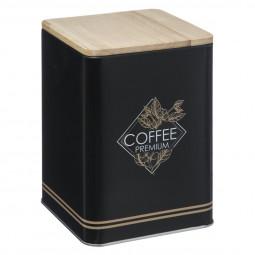 Boite à café en métal et bois côté café