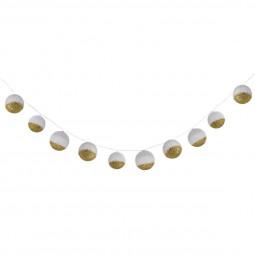 Guirlande 10  boules blanc et doré douceur