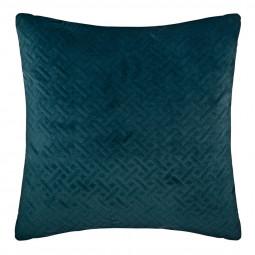 Coussin velours bleu pétrole 40 x 40 cm