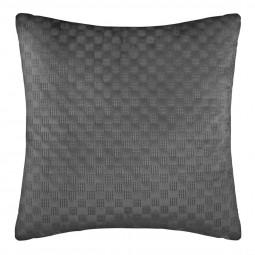 Coussin déhoussable en velours gris 40 x 40 cm