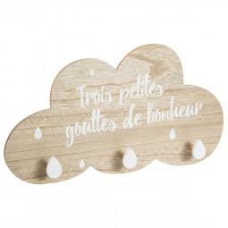 Patère nuage bonheur 3 crochets