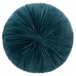 Coussin rond velours bleu pétrole D 40 cm la dolce vita