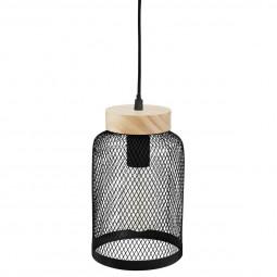 Suspension en métal noir et base en bois zely  H 24.5 cm