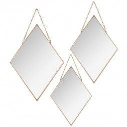 Lot de 3 miroirs losanges métal chaîne or