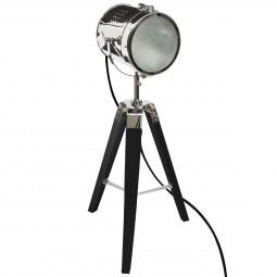 Lampe Projecteur en métal et pied en Bois brossé noir Ebor H 68 cm