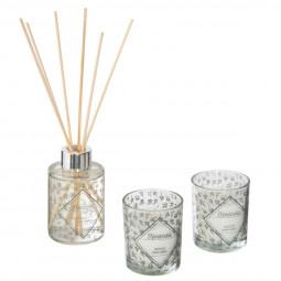 Coffret Senteur décor feuillage - Diffuseur avec bâtons et 2 bougies dans pots en verre