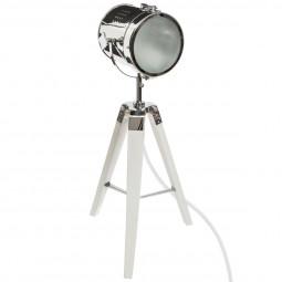 Lampe Projecteur en métal et pied en Bois brossé blanc Ebor H 68 cm