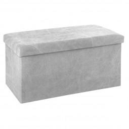 Pouf pliant double gris clair effet pierre 76 x 38 cm