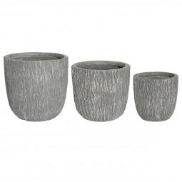 Lot de 3 pots effet bois gris