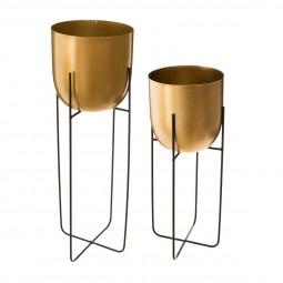 Lot de 2 Pots ronds dorés avec supports en métal