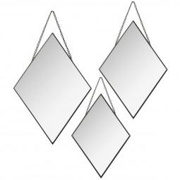 Lot de 3 miroirs losanges métal chaîne noir