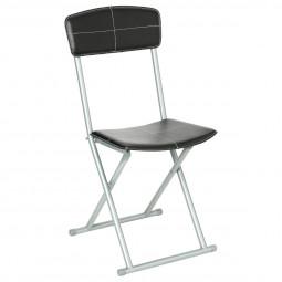 Chaise pliante PVC noir