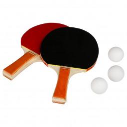 Lot de 2 raquettes ping pong + 3 balles