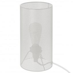 Lampe tube métal ajouré blanc H26