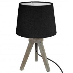 Lampe bois trépied abat-jour NOIR H31