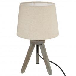 Lampe bois trépied abat-jour LIN H31