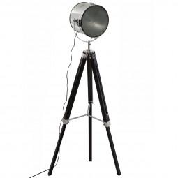 Lampadaire projecteur en métal et bois brossé noir ebor H152