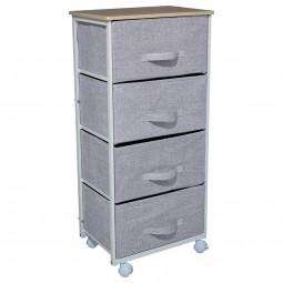 Meuble de rangement 4 tiroirs gris clair