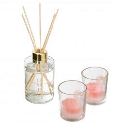 Coffret Senteur décor animaux - Diffuseur avec bâtons et 2 Bougies dans pots en verre