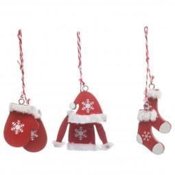 Décoration Sujet de Noël Lot de 3 Formes en bois avec fourrure blanche H 11 cm  Comptoir de Noël