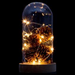 Décoration Intérieur lumineuse Dôme avec déco nature bois et LED blanc chaud H 22 cm
