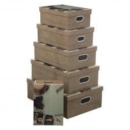 Lot de 6 boîtes de rangement coins métal décor voyage