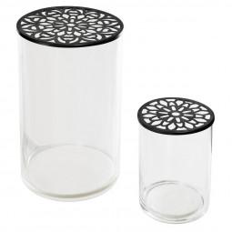 Set de 2 vases en verre avec couvercles en métal