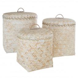 Lot de 3 Paniers avec couvercles en bambou blanchi