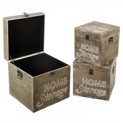 Lot de 3 Malles en bois carré storage vintage