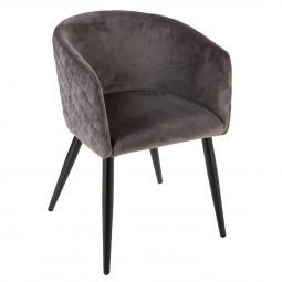 Chaise fauteuil en velours Gris Marlo