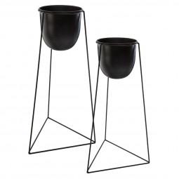 Lot de 2 Pots noirs avec supports en métal