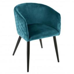 Chaise fauteuil en velours bleu pétrole Marlo