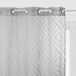 Voilage gris motif en relief Etnik 140 x 240 cm
